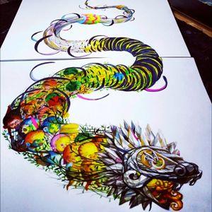Acid Quetzalcoatl #mexicanarttattoo #Quetzalcoatl #acidcolors