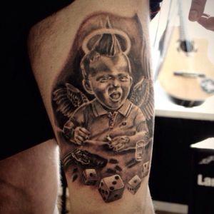 Angel#angel #Guardianangel#upperleg #tattoo#