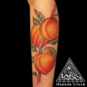 Tattoo by Lark Tattoo  artist Hannah Clock  #peach #peachtattoo #peaches #peachestattoo #fruit #fruittattoo #colortattoo #tattoo #tattoos #tat #tats #tatts #tatted #tattedup #tattoist #tattooed #tattoooftheday #inked #inkedup #ink #tattoooftheday #amazingink #bodyart #tattooig #tattoosofinstagram #instatats  #larktattoo #larktattoos