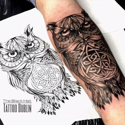 Owl and celtic tattoo inspiration with an exclusive design from Sergy @blackhatsergy @theblackhattattoo- #owl #owltattoo #mandalatattoo #animaltattoo #celtictattoo #Dublin #ireland #theblackhattattoodublin #ink #inked #tats