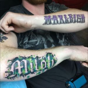 Son( Miloh), Daughter(Marleigh) #color #drip #names #green #blackwork #letters #forearm #guyswithink #indianapolis #indy #delta9