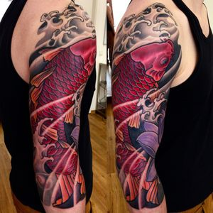 Japanese tattoo. Half sleeve. Koi and lotus tattoo.