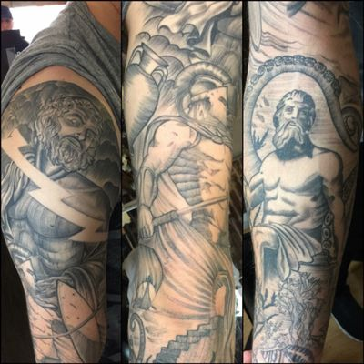 Greek mythology blackwork sleeve #greek #greekmythology #zeus #zeustattoo #Poseidon #poseidontattoo #blackwork #whipshading #ares #lightning #linework #blackandgreytattoo
