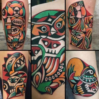 Display of #KTattooing @ktattooing work - #duck #owl #trex #skull #skulls #lion #bear #color #tattoos wish i had one or two or....