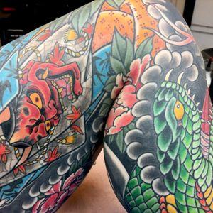 Close up on a leg piece finished not to long ago. Thanks @RoyalTattoo #royaltattodk #royaltattoodenmark #snake #geisha