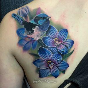 A #fairywren and some native #orchids . #nature #wildlife #portrait #realism #watercolor #watercolortattoo #floral #flower #flowers #orchid #bird #birds #alberta #wren #lizvenom #amazing #amazing #perfection #tattoosforwomen #tattoosforgirls #perfettattoos #bombshelltattoo #gritnglory #canadatattoo