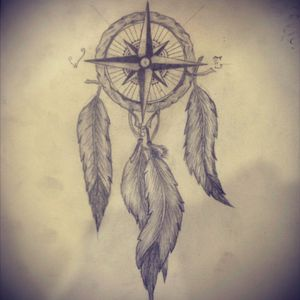 Dream catcher sketch #dreamcatcher #tattoo #design #pencil #compass #feather