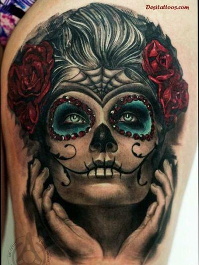 #skull #skulltattoo #skulls #sugarskull #thumbtattoo #tatted #tatoooftheday #inked #ink #blackandgrey #Black #blackandgreytattoo #dark #DarkTattoos #twisted #hand #handtattoo #skilled #knuckletattoos #knuckles #girlswithtattoos #guyswithtattoos #tattooapprentice #tattoo2me #tattooartistmagazine #tattooartists #tattooaddiction #color #blue #red #rose