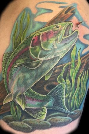 Finished this trout cover-up tattoo. Thank you to my client, Eldon, for the time and opportunity to do this. Really happy with the results. #art_in_motion_tattoo #trouttattoo #fishtattoo #flyfishing #alaskafishing #tattoo #customtattoo #coveruptattoo #colortattoo #alaskatattoo #wasillatattoo #wasillaalaska #matsuvalley #jber #veteranowned #kellytattooartist