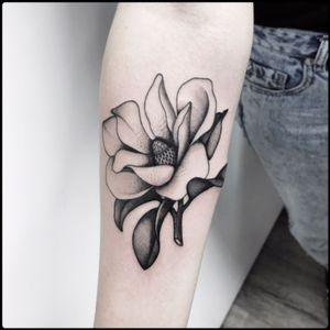 #black #magnolia #flower #tattoo #blackwork #totemica #ontheroad