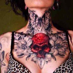 #skull #RedSkull #flowers #floral #butterfly #neck #chest