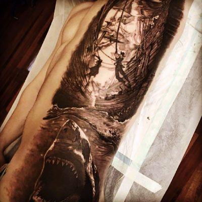 #tattoo #shark #pirate #blackandgrey