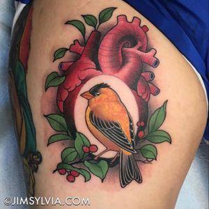 #jimsylviatattoo #goldfinch #heart