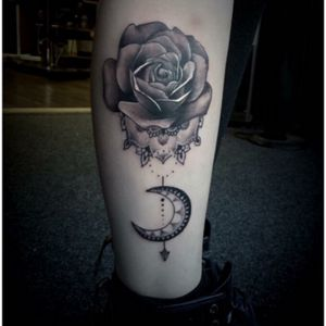 Done by Kris Taylor at Vivid ink Walsall :) #tattoo #mandala #rose #dotwork #grey #blackwork #feminine #moon #pagan