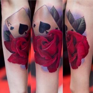 Artist #joshgrable #redrose #rose #card #aceofspades