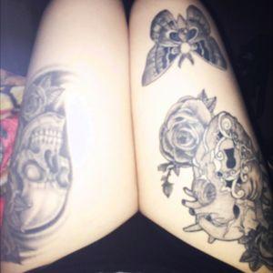 #mybody #ididthemmyself #ididitmyway #skullandroses #moth #keyhole #anatomicalheart #apprenticetattoo