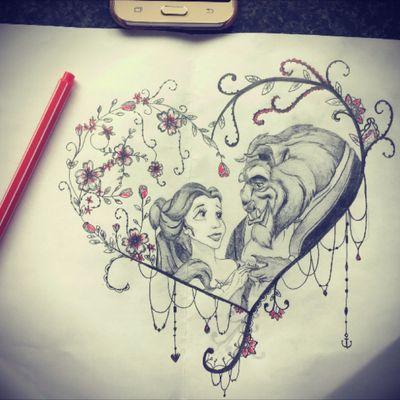 New beauty and the beast design 🌹 #tattoo #disney #beautyandthebeast #pretty #flowers #beauty #design #tattoodesign #flowertattoodesigns #disneyprincess #disneytattoo #Belle