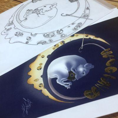From scratch to digital design😜 最初からデジタルデザインまで😜 満足感😁)) #myart #drawing #draw #digitalart #Mouse #moon #cheese