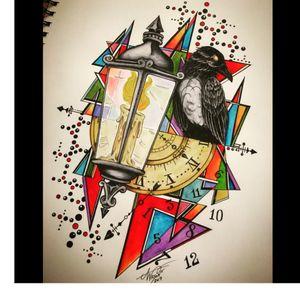 Raven piece...#AbstractWatercolor #watercolorart #geometricwatercolor #raven #clock #lantern