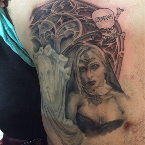 I did this tattoo #madmikeink #worldwide #blackandgreyportrait #inked #art