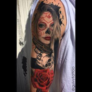 Healed tattoo Guivy Hellcat - GENEVA 🇨🇭 #girlgang #forltattoo #Catrina #Santamuerte #diadelosmuertos #sigsauer #trashpolka #graphictattoo #dayofthedead #mexican #guivy #artforsinners #tattoo #tatouage #geneva #geneve #switzerland #mexicaine #portrait #girl #woman #gun #sigsauer