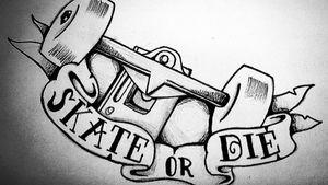 Skate Or Die!                                       #sketch #sketching #sketchtattoo #sketchbook #drawing #painting #followme #followforfollow #likeforlike #instaart #instalike #tattoo #oldschool #oldschooltattoo #traditionaltattoo #traditionaltattooit #original #blackandwhite #skate #skateboard #skateordie