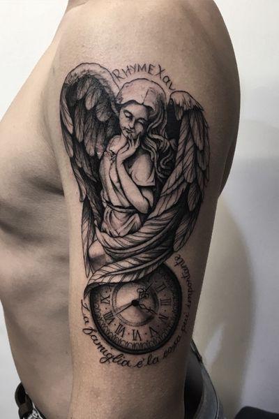 Done at Yama Tattoo Studio, Rome. #angel #blackandgrey #blackandgreytattoo #portrait #angeltattoo #clock #shading #ttts #ink #inked #akuma #femaletattooartist #roma #italy #tattoodo #wings #yamatattoostudio #akuma