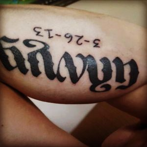 """(Gavyn) oldest sons name and birthdate """"ambigraghm"""" curtousy of The Golden Lotus in sherwood Arkansas"""