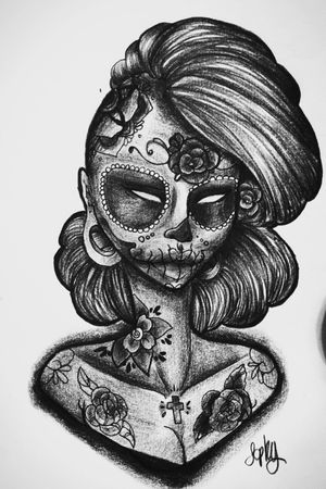 #flashart #art #tattooart #mexicansugarskull #girl