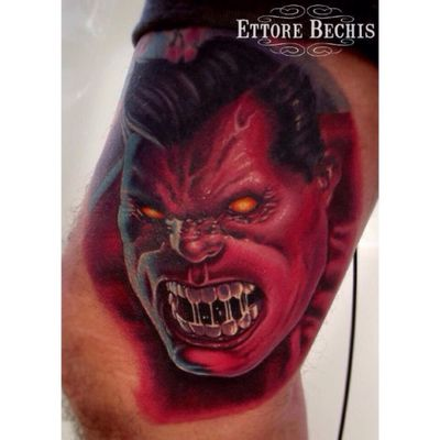 www.ettore-bechis.com #redhulk #tattoo done with tubes and needles by @kingpintattoosupply #tattoomachine by @hatchback_irons #marvel #hulk #villain #miamibeach #miami #ink #inkedup #inked