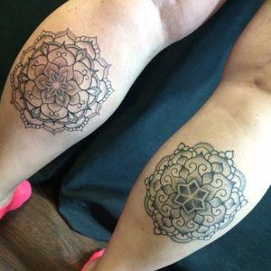 Matching mandala tattoos by me, Rebekka Rekkless. #mandala #dotwork #rebekkarekkless