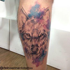 Wolf 😁  #watercolortattoo #dellnascimentotattoo #rioinktattoo #aquarela #tattoo #tattoos #tattooaquarela #sketch #lobo #azedareameta