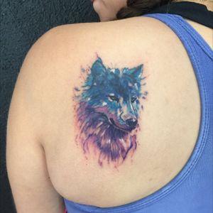 #watercolor #watercolortattoo #wolf #wolftattoo #colorful #colorfultattoo #backtattoo #tattoo #tattoolife #ink #inked