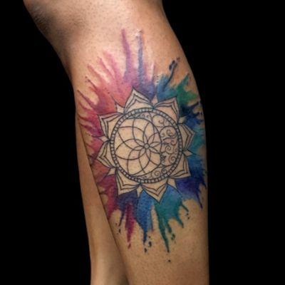 Custom ornamental sun and moon with watercolor splashes. Would love to do more like this! Email me at burke.brigid@gmail.com #customtattoo #watercolortattoo #dreamcatchertattoo #dreamcatcher#sunandmoon #sunandmoontattol #watercolor #color #colorful #nyctattoo #brooklyntattoo #brooklyntattoo #nyctattoo #ink #tattoo