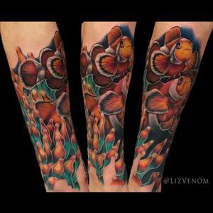 #Clownfsh and #anemone tattoo i did as a start to a full sleeve of #underwater animals #ocean #oceans #aquatic #marine #ocelaris #fish #fishes #nemo #dory #aquarium #aquatic #sleeve #water #lizvenom #bombshelltattoo #edmonton