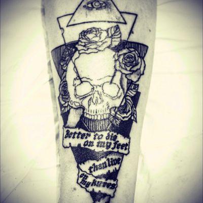 #unfinished #skull #skulltattoo #rockandroll #rock #rose #rosetattoo #roses #rosestattoo #triangle #triangletattoo #triangles #words #sentence #sentencetattoo #eye #eyetattoo #pyramid #illuminati