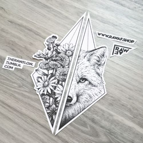 """Fox hiding in wildflower bouquet"" - custom dotwork and geometric tattoo design #dotwork #fox #animal #dotworktattoo #foxtattoo #wildflowers #flower #flowerattoo #geometrictattoo #matchingtattoos #couplestattoo"