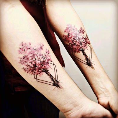 #yeliz#trees#cherryblossom #matchingtattoos