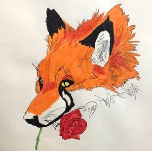 #foxtattoo #foxwithrose #vibrant #flashart