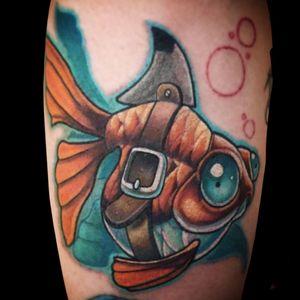 Sharkfin goldfish #millsoriginal #goldfish #sharkweek #newschool #jacksonvilletattoocompany #nctattooers