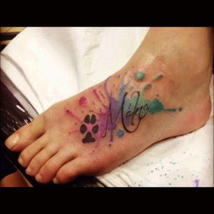 #dog #footprint #watercolor #dogtattoo #dogtattoos