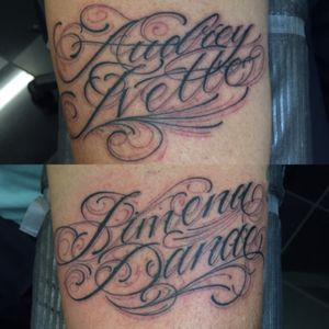 Fancy lettering to keep his lovely ladies happy. #capturedtattoo