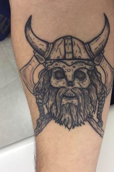 Viking Skull 💀 First tattoo ever! #viking #vikingtattoo #skull #skulltattoo