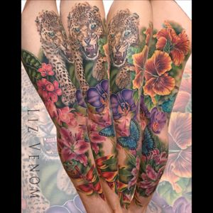 Almost done woth this #tropical #legsleeve  #tattoo #tattoos #tattooed #tattooidea #ink #inked #inklife #skinart #inkedgirls #tattooart   #tattooartist #flowertattoo #femininetattoo #tattoodo #tattoodoapp #edmontonink #edmontontattoos #lizvenom #yegtattoo #bahamastattoo #puertoricotattoo #tattoosforwomen #hibiscus #leopard #lily #stargazer #treefrog #frog #frangipani #plumeria