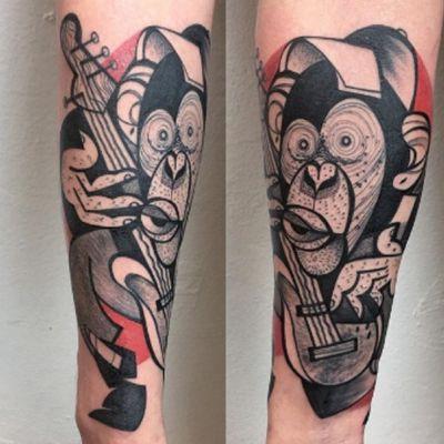 Just a #monkey playing #bass with a #baseballhat #blackandgrey #red #PeterAurisch @peteraurisch