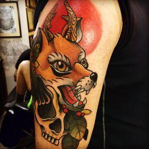 Mr fox. #foxdesign #fox #fullcolor #skull #oddworld #arm_tattoo