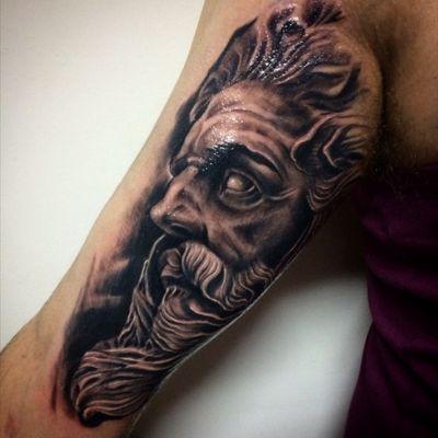 Poseidon #tattoo #poseidon #blackandgrey #tattooartist #tattooart