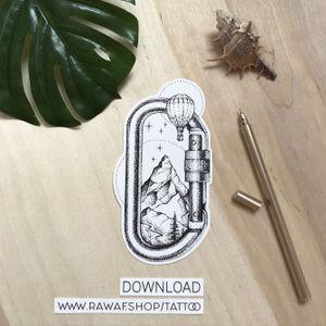 Carabiner tattoo with mountains and air balloon, for true adventurers! Download PDF: www.rawaf.shop/tattoo #mountain #travel #forest #nature #hotairballoon #wanderlust #dotwork #dotworktattoo #blackwork #blackworktattoo