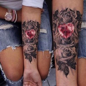 This is beautiful! #flowers #jewels #hyperrealism #pink #roses #forearm