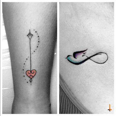 Nª262-263 #tattoo #tatuaje #littletattoo #ink #inked #line #arrow #dots #bird #infinity #bylazlodasilva
